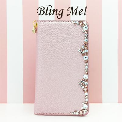 smartphone case m synthetic leather line l pearl pink smartphone